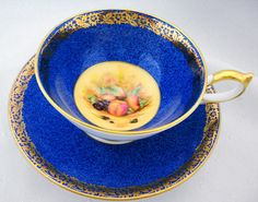 Aynsley athens gold gilt Mottle Royal Blue Orchard Fruit art deco tea cup and saucer