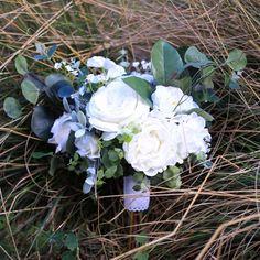 Wedding bouquet / wild, fly-away large bridal flowers / white, ivory roses, peonies, gypsophila/babys breath with wild greenery