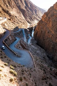 Dades Gorge and the most dangerous road on earth | Into the Desert: Sahara Dunes and Surrounding Scenes Dangerous Roads, Les Themes, Wanderlust Travel, Dune, Morocco, Deserts, Around The Worlds, Earth, Places