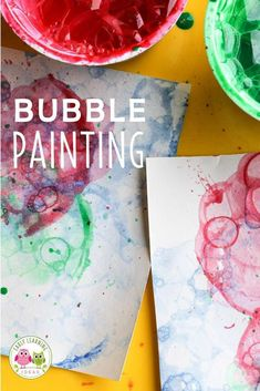 Looking for new art activities for kids? Bubble painting is a fun process art activity for your kids in preschool, pre-k and kindergarten classroom.  Check out these tips and tricks.  There are many opportunities to explore and experiment....a fun opportunity for creativity.  Children can look at how the colors mix and blend together.  Use all the colors of the rainbow or use seasonal colors.  Spring, summer, winter, fall, your can make bubble art projects year round. Preschool Activities At Home, Color Activities, Literacy Activities, Bubble Painting, Bubble Art, Diy And Crafts, Crafts For Kids, Kids Bubbles, Teaching Colors