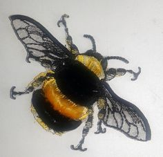 Moks12p Velvet Bumblebee Insect Embroidery Patch
