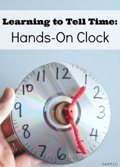 Learning to tell time is easier with a hands-on math manipulative clock. Simple to follow instructions for making a clock out of a CD or DVD gives kids a hands-on way to learn to tell time. Great for common core math.
