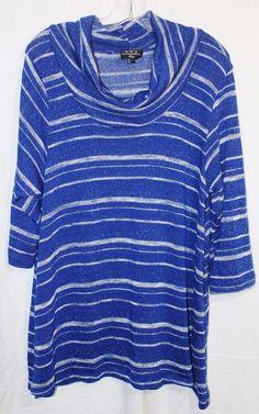 New Woman Design Plus Knit Sweater Long Tunic Cowl Neck Plus Sz 3X Ladies  Stripe #