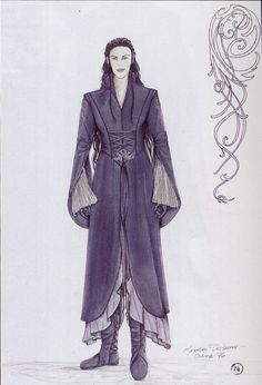 "Arwen - Riding Outfit (Concept Art) from ""Lord of the Rings: Fellowship of the Ring"" (2001).  The elf maiden's outfit was constructed of dove-grey suede which in certain light looked almost purple.  The draped sleeves and curve of the split skirt panels produce a flowing effect in keeping with the Elven aesthetic.  The upper right hand sketch shows a motif for Arwen's quiver which was ultimately not used for filming."