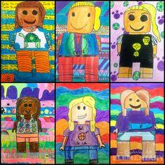 Lego Portrait, Self Portrait Art, Square One Art, 3rd Grade Art Lesson, Creative Self Portraits, Lego Activities, Art Lessons Elementary, Art Lesson Plans, Art Classroom