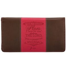 """Our """"I Know the Plans"""" Inspirational Checkbook Cover not only presents with an arresting color contrast and supple feel, it works double-duty with built-in, billfold functionality!  I Know the Plans Pink  Brown Checkbook Cover  Price : $9.99 http://www.veritasgifts.com/Know-Plans-Brown-Checkbook-Cover/dp/B00M7BFMOE"""