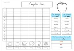 Calendar and Weather Journal. Great morning routine packet for kindergarten and first grade students! A page from the unit: monthly weather graphing and recording page.