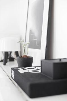 Tom Ford book, white living room, black and white