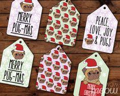 Christmas Pug Tags Pugs Holidays Labels Cute Dog by wowwowmeow