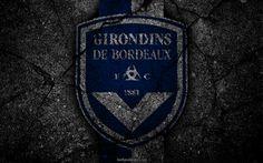 Lataa kuva Bordeaux, logo, art, Liga 1, jalkapallo, football club, Ligue 1, grunge, FC Bordeaux