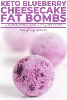 Keto Blueberry Cheesecake Fat Bombs with only net carbs per ball! Healthy, delicious and suitable for the ketogenic diet! Blueberry fans will be more than happy with these blueberry cheesecake keto fat bombs! Cheesecake Fat Bombs, Low Carb Cheesecake, Blueberry Cheesecake, Cheesecake Cookies, Keto Friendly Desserts, Low Carb Desserts, Low Carb Recipes, Keto Fat, Low Carb Keto