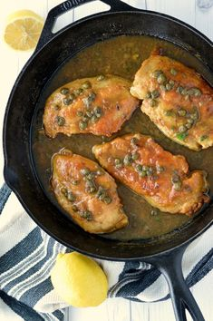 Lemon Chicken Piccata With a buttery lemon sauce and salty capers, this easy chicken piccata recipe is my go-to dish. Lemon Chicken Piccata, Creamy Lemon Chicken, Veal Piccata Recipe, Yummy Chicken Recipes, Easy Chicken Picata Recipe, Caprese Chicken, Pork Cutlets, Duck Recipes, Cooking Recipes