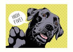 Labrador pop art print black lab print black Labrador by LEAPUP
