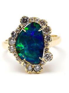 Kimberly Mcdonald bague en or 18ct à opale et diamants
