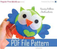 Owl Sewing pattern  PDF ePATTERN  by Mariapalito