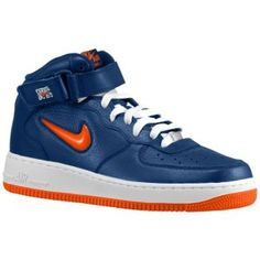 Nike Air Force 1 Mid - Men's - Midnight Navy/Team Orange New Air Force 1, Air Force Ones, Air Force Jordans, Nike Air Force, Foot Locker, Grey Leather, Ankle Strap, Kicks, Nyc