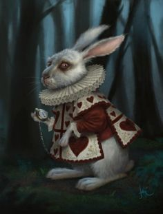 Dark looking image of the rabbit from alice in wonderland, shadowing and shading throughout the image. Highlights were the moon would be hitting the rabbit.