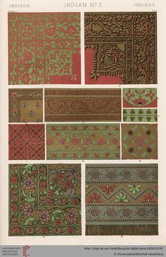 Tafel L. India Plate (1 of 9). Owen Jones, The Grammar of Ornament.  Thanks to the University of Heidelberg digital library.