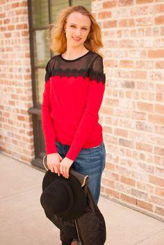red lace sweater // current elliott boyfriend jeans // black hat // Cheers J