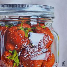 "Daily Paintworks - ""Strawberries in a Ball Jar!"" - Original Fine Art for Sale - © Jacinthe Rivard Smiths Food, Food Painting, Pastel Pencils, Food Jar, Ball Jars, Eat Fruit, Love Eat, Beautiful Paintings, Food For Thought"