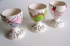 Personalized Hand Painted Egg Cups