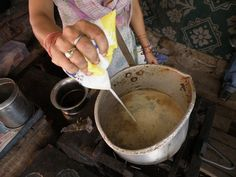 This photo from Uttarakhand, North is titled 'Milk for indian tea'. Masala Chai, Rishikesh, Tea Art, Tea Time, Ethnic Recipes, Milk, Indian, Food, Chai