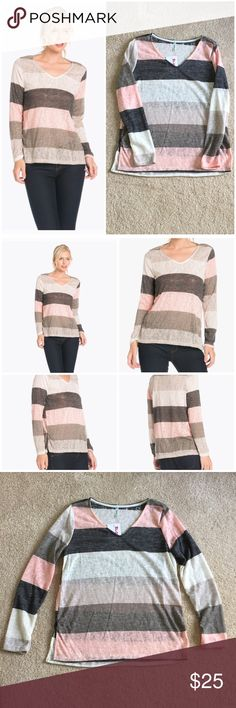 """Colorblock knit top Lightweight woven top in alternating stripes of dark gray, light gray, pink, and cream. Straight, loose fit with split side seams. Great length - good coverage without being a tunic. Lightweight, semi-sheer material can be layered with a tank or worn alone (as in photos). Color bands may vary from stock photo (see actual next to stock model photo). I am modeling a small. Small: bust is 18"""", length is 25"""". Medium: bust is 19"""", length is 26"""". Large: bust is 20"""", length is…"""