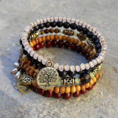 healing, genuine sandalwood, rosewood, smokey quartz and tiger's eye gemstone beaded multistrand bangle