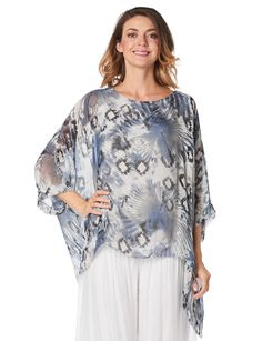 Silk abstract pattern cape blouse by Froccella