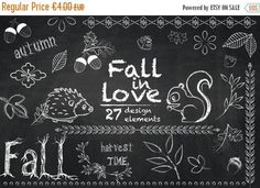 Fall in Love - Autumn Chalkboard Cliparts Chalkboard Clipart, Chalkboard Designs, Fall Chalkboard Art, Chalkboard Doodles, Hedgehog Art, Printable Stickers, Planner Stickers, Printable Party, Kitchens