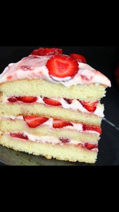 Use half from vanilla cake mix & half of strawberry cake mix. Combine them both to equal the amount for 1 cake mix box. Bake according to directions on box. Once baked & cooled, cut through cake making as many rounds as you can. Spread strawberry frosting then top with fresh slices of strawberry. Add the next layer of cake & repeat process with frosting & strawberries until cake is all put together. Frost around entire cake & top with more strawberries. The cake looks pretty once u cut a…