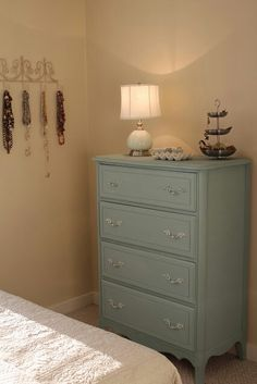 love the blue colour! Furniture Restoration, Dresser As Nightstand, Chalk Paint, Diy Furniture, Sweet Home, Shabby Chic, Table, House, Colour