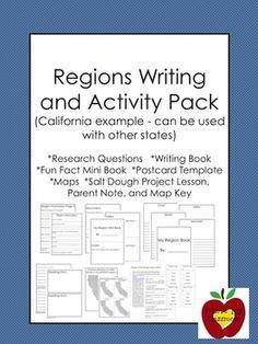 California Regions Research, Writing, Activity Pack California Regions, California History, 3rd Grade Social Studies, Teaching Social Studies, 5th Grade Science, Social Science, Native American Lessons, Teacher Hacks, Teacher Stuff