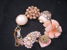 What a great idea! Take vintage earrings and make them into a bracelet.