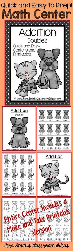 Addition Doubles - Quick and Easy Kittens and Puppies Centers and Printables #TPT $paid