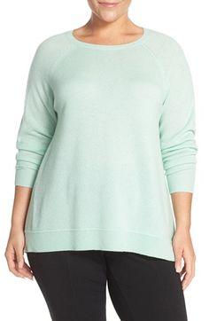 Halogen® Zip Back Crewneck Cashmere Sweater (Plus Size)