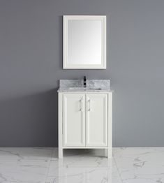 Single Sink Bathroom Vanity in White Finish with Stone Countertop Stone Bathroom Sink, Single Sink Bathroom Vanity, Bathroom Vanity Cabinets, Wood Vanity, Vanity Sink, Bathroom Furniture, Discount Bathroom Vanities, Cheap Bathrooms, Glass Countertops