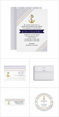 Gold and navy anchor nautical wedding collection