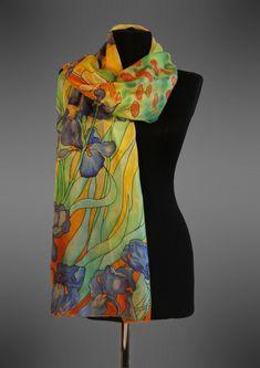 Van Gogh Irises silk scarf. Hand painted silk by batikelenakotova