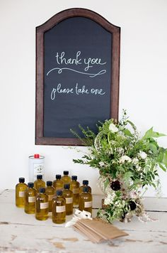 olive oil favors, sweet and simple chalkboard writing