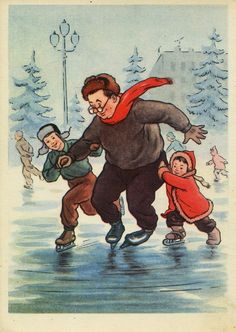 "Written on (!) Postcard Illustration by I. Fridman ""First Steps"" -- Condition Vintage Cards, Vintage Postcards, Vintage Images, Nostalgic Art, New Year Postcard, Vintage Santa Claus, Winter Images, Luge, Christmas Pictures"