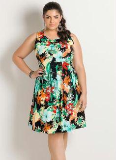 Vestido Mix Flores Plus Size - Posthaus