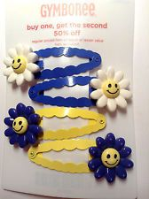 Gymboree Flower Showers Barrette Clips Snap NWT Sunflower Smile Yellow Blue Sun
