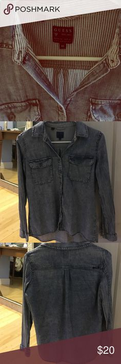 Guess button down shirt size xs Good condition size extra small denim style button down shirt Guess Tops Button Down Shirts