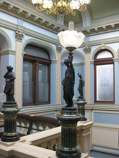 Spelter Lamps at the top of the Palladian Style Stairwell of the Ballarat Town Hall - Sturt Street, Ballarat