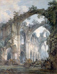 "ivanaivazovsky: ""Joseph Mallord William Turner. Interior of Tintern Abbey, Monmouthshire, ca. 1794 """