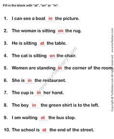 Prepositions Worksheet1 - esl-efl Worksheets - grade-1 Worksheets