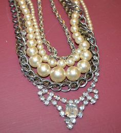 Vintage Multi Chain Pearl & Crystal Necklace