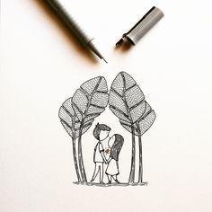 Oil Pastel Drawings Easy, Cool Art Drawings, Art Drawings Sketches, Easy Drawings, Pen Art, Marker Art, Doodle People, Stick Figure Drawing, Doodle Paint