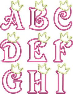 Princess Crown Applique Font Capital letters A thu Z. Hand Lettering Alphabet, Calligraphy Alphabet, Embroidery Patterns, Hand Embroidery, Machine Embroidery, Graffiti Lettering, Princess Birthday, Birthday Crowns, Princess Party